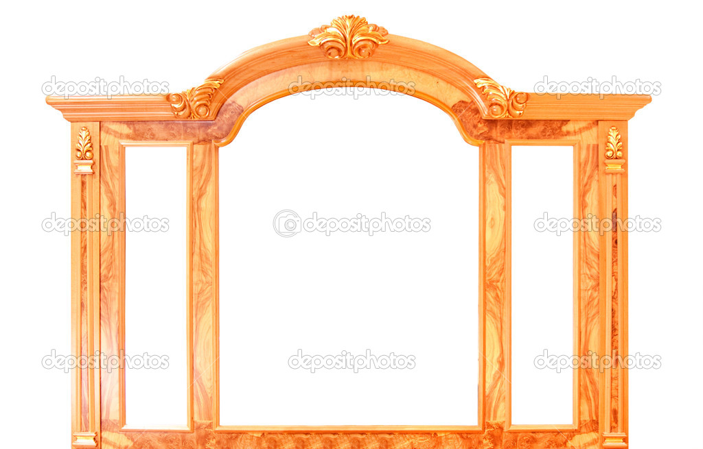  	vintage picture frame, gold plated, white background. Baroque picture frame to put your own pictures in.  Stock Photo #2266565