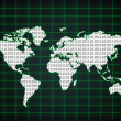 Stock Photo: World map with binary code