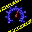 Royalty-Free Stock Photo: Police line and speedometer on the black