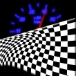 Stock Photo: Racing flag and neon glowing odometer on