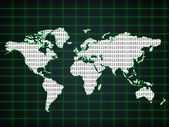 World map with binary code — Stock Photo