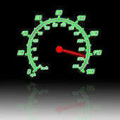 Illustration of the speedometer and reflection — Stock Photo