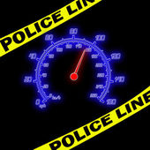 Police line and speedometer on the black — Stock Photo