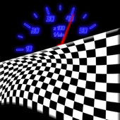Racing flag and neon glowing odometer on — Stock Photo