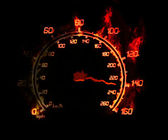 Speedometer on fire — Stock Photo