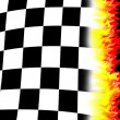 Stock Photo: Burning racing flag