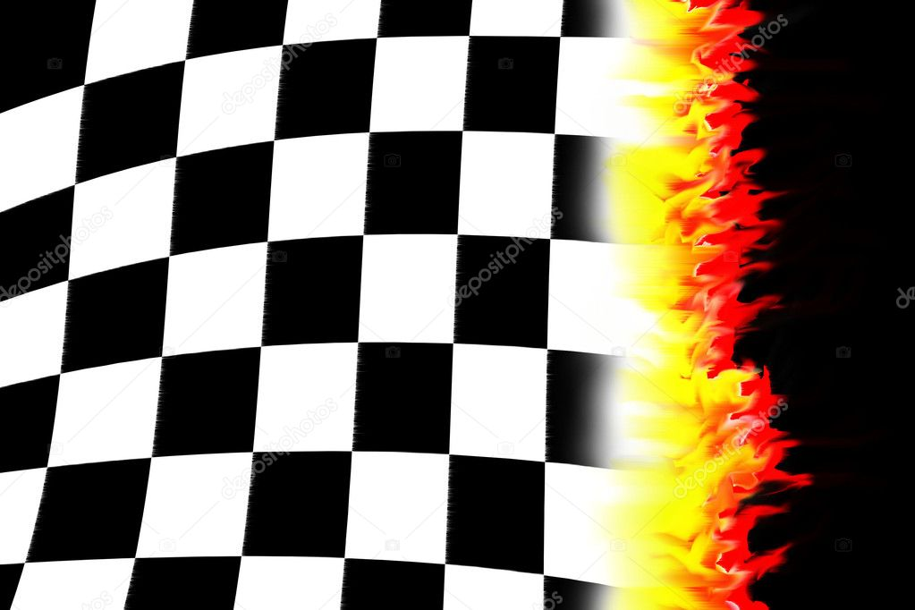 Illustration of the burning checkered racing  flag — Stock Photo #1344913