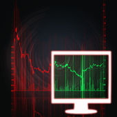 Stock market chart in white monitor — Stock Photo