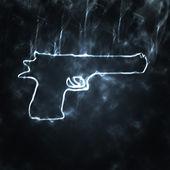 Gun in the smoke — Stock Photo