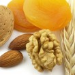 Dried apricot with nuts — Stock Photo