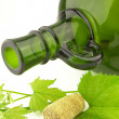 Green bottle with cork - Stock Photo