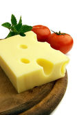 Cheese with tomat and melissa — Stock Photo