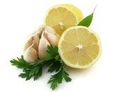Lemon with garlic — Stock Photo