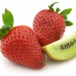 Tasty strawberry with sweet kiwi - Stock Photo