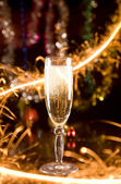 New Year card with champagne — Stockfoto