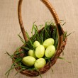 Royalty-Free Stock Photo: Basket with Easter eggs and grass