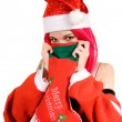 Portrait of romantic Mrs. Santa - Stock Photo