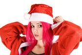 Surprised mrs. Santa — Stock Photo
