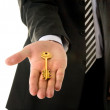 Businessman holding key — Stock Photo