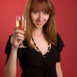 Beautiful girl with champagne glass — Stock Photo