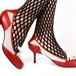 Female legs in red shoes — Stock Photo
