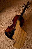 Old violin with burnt music sheet — Stock Photo