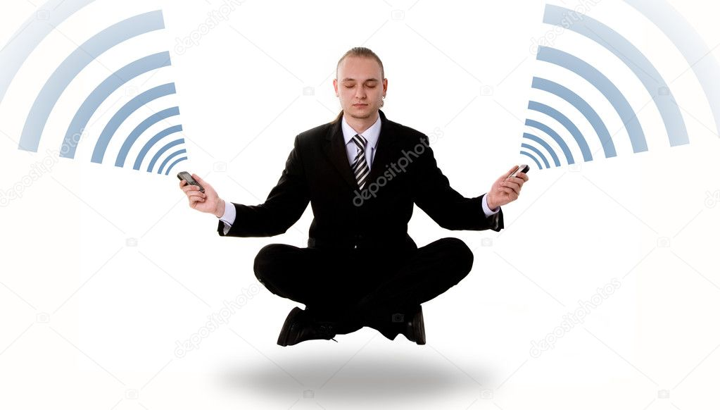 Levitating business yoga with mobile phones isolated on white background — Stock Photo #1097607