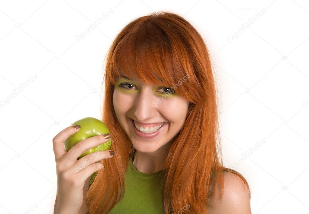 depositphotos 1098189 Smiling red haired girl with green apple Paris hilton ...