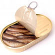 Sprats a transparent cover — Stock Photo