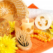 Spa still-life with candle and flowers - Stock Photo
