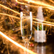 New Year card with champagne glass and s — Stock Photo