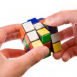 Man trying to resolve the puzzle — Stock Photo