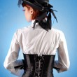 Rear view of beautiful girl in Victorian — Stock Photo