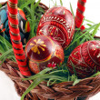 Easter eggs in basket — Stock Photo #1104765
