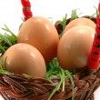 Easter eggs in basket — Stock Photo #1104898