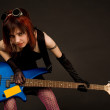 Sensual girl with bass guitar — Stock Photo