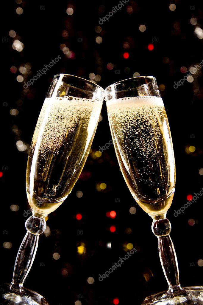 Two champagne glasses making toast over holiday background — Stock Photo #1103213