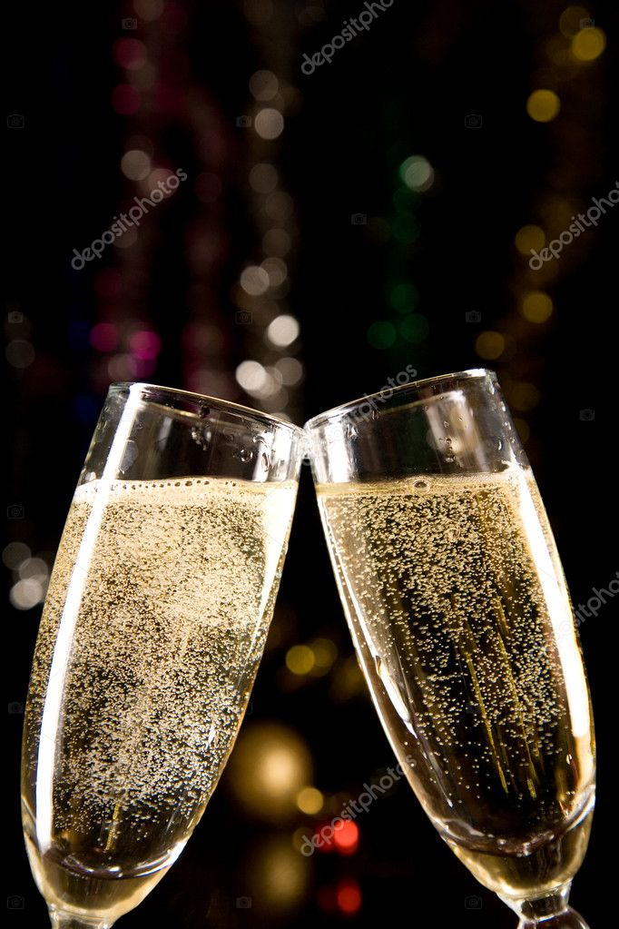 Champagne glasses making toast over holiday background — Stock Photo #1103274
