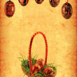 Grunge wallpaper with Easter basket — Stock Photo