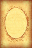 Vintage wallpaper with floral oval frame — Stock Photo