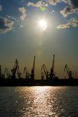 Silhouettes of harbor cranes — Stock Photo