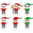 Little Santa's helpers smile set Vector — Foto Stock