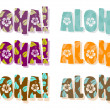 Illustration of aloha word in dif — Foto de Stock