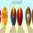 Foto Stock: Illustration of surf boards