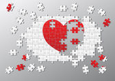 Jigsaw pieces broken heart — Stock Photo
