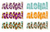 插图的阿罗哈单词在 dif — 图库照片