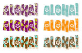 Illustration of aloha word in dif — Stok fotoğraf