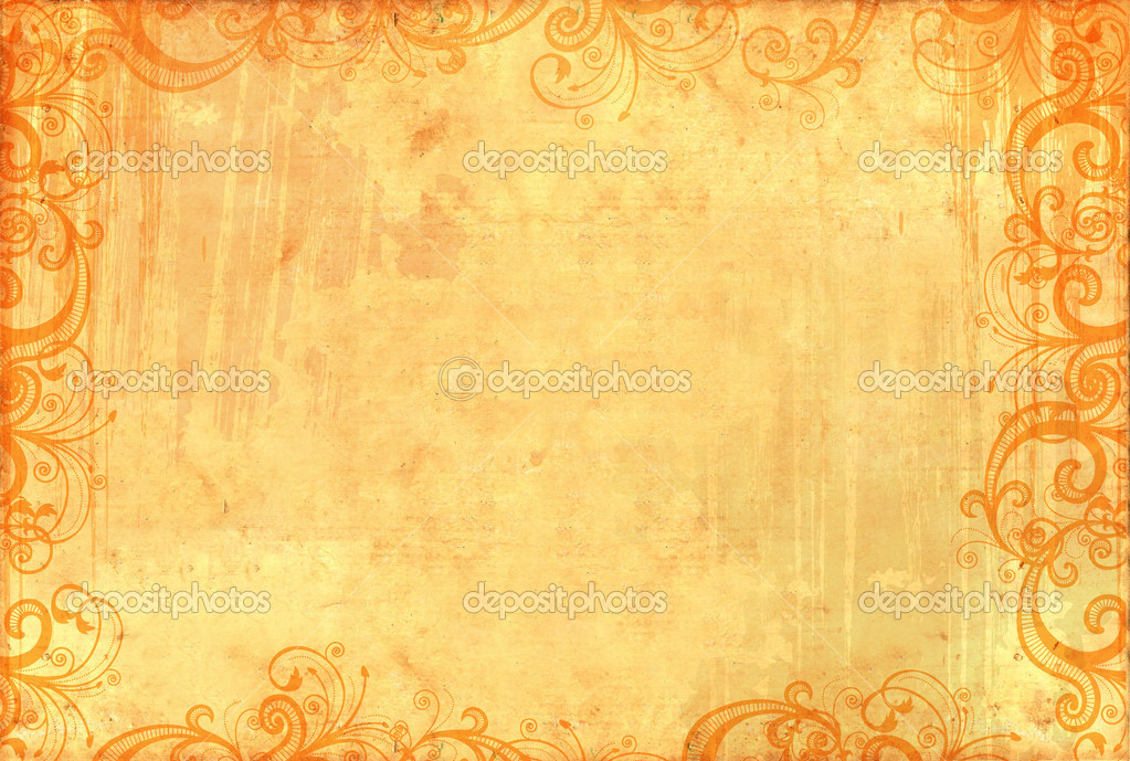 Old textured wallpaper with floral patterns and ink splashes  Stock Photo #1160475