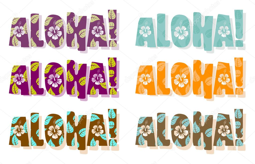 Illustration of aloha word in different colors, hand drawn text   Stock Photo #1166207