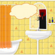 Illustration of bathroom monster — Stock Photo